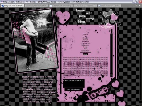 Emo Love. Myspace Layouts / Div Overlay · View preview · Add to favorites