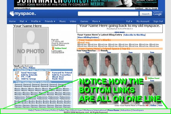 Hide Bottom Links on Myspace - MyspaceGenscom